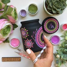 Which one is your favorite from Painting Glass Jars, Bottle Painting, Dot Art Painting, Mandala Painting, Painted Flower Pots, Painted Pots, Glass Bottle Crafts, Bottle Art, Pottery Painting Designs
