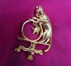 Vintage Brooch/Pin Cat Brooch AVON signed Cat by thejeweledmink, $10.00