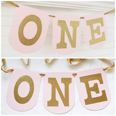 Pink and Gold ONE Banner  7.25 inches tall  by FreshLemonBlossoms