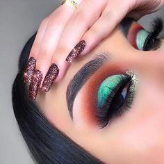 Mint Makeup, Cute Eye Makeup, Makeup Art, Makeup Tips, Makeup Looks, Makeup Ideas, Teal Eyeshadow, Eyeshadow Looks, Eyeshadow Makeup
