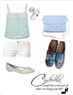 Cinderella Disney Inspired Outfit and DIY shoes Cute Disney Outfits, Disney Themed Outfits, Disney Bound Outfits, Cool Outfits, Movie Outfits, Disney Clothes, Cinderella Disney, Cinderella Outfit, Disney Princesses