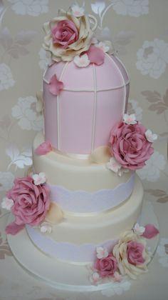 Ivory & Pink Rose Birdcage Wedding Cake
