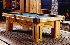 8' Billiard Table in the Gallatin Style, with contrasting inset log trim stained in dark walnut.