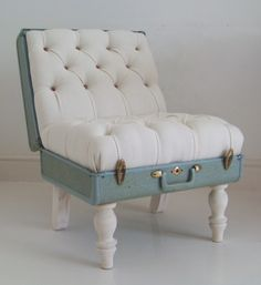 Suitcase Chair - I think I can totally make a cute little ottoman or dog bed out of something like this.