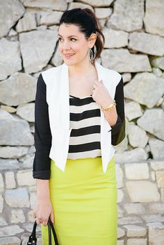 Black and white, contrast sleeves, stripes, neon skirt