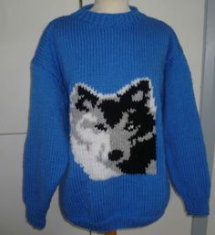 42667baa064b Hand Knitted Chunky Round Neck Wolf Jumper Sweater by Bexknitwear