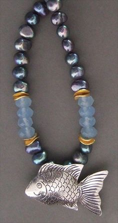 handmade peacock pearl necklace