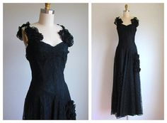 """1940s Dress / Vintage 1940s Black Lace Gown / Rare Formal by Gothe' New York 26"""" Waist on Etsy, $462.00"""