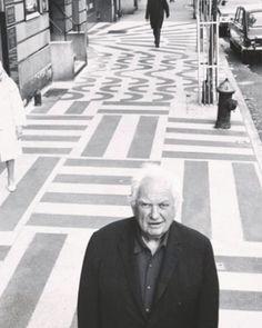 Alexander Calder in front of his terrazzo side walk, 1970.