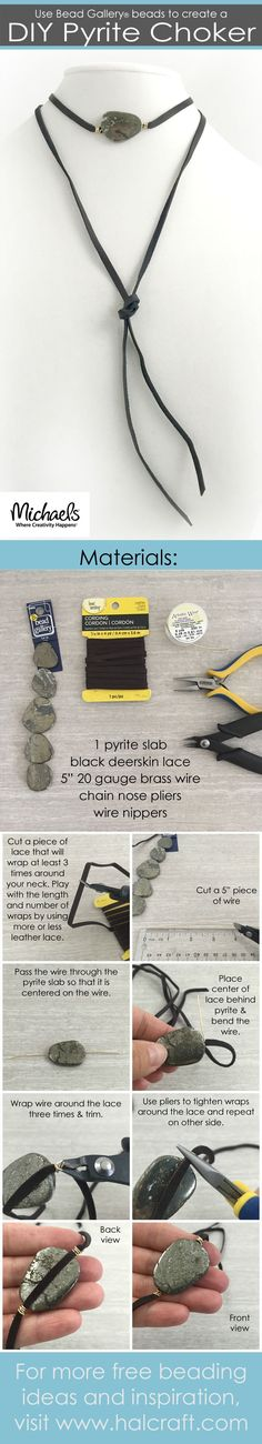 Make your own DIY Pyrite Slice choker that can be worn three different ways! All materials are available at @michaelsstores #madewithmichaels