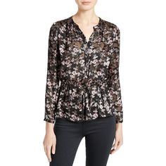 Women's Rebecca Taylor Shadow Floral Burnout Drawstring Blouse (610 BRL) ❤ liked on Polyvore featuring tops, blouses, black combo, sheer floral top, burnout top, shirred top, see through blouse and floral-print blouses