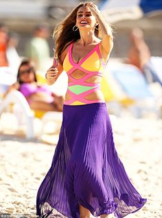 Bondi babe: Sofia Vergara flaunted her famous curves in an Agent Provocateur swimsuit as she filmed scenes for Modern Family on Bondi Beach on Friday