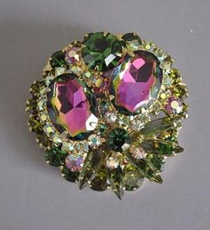 JULIANA style watermelon VITRIAL MEDIUM larger oval stones, green with pink ...victorian broach