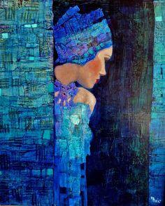 Tableau de Richard Burlet. Des portraits imaginaires cernés de couleurs vives. Voir un autre tableau : http://www.galerie-mcgrulier.com/files/images_pages/7/image6.jpg