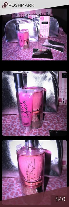 NWT Victoria's Secret Beauty essentials kit 6 New never been opened Victoria's Secret hot summer nights beauty essentials kit. Includes 1. Sexy little things Noir Tease rollerball 2.mirror 3.metallic silver case for mirror 4.Instant bronzing shimmer powder 5.Beauty rush flavored lip gloss (Love berry). 6. Metallic silver make up case..  💕A $73 value.... Smoke/pet free home. Victoria's Secret Makeup