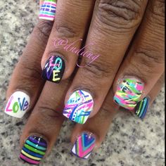 short 'love' abstract multi colored nail art - Instagram photo by  dndang