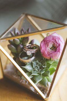 Gold Geometric Terrarium Ring Box / http://www.himisspuff.com/geometric-terrarium-wedding-ideas/5/