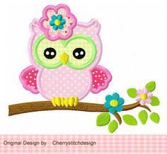 Cute owl with flowers digital applique 4x4 by CherryStitchDesign, $2.99