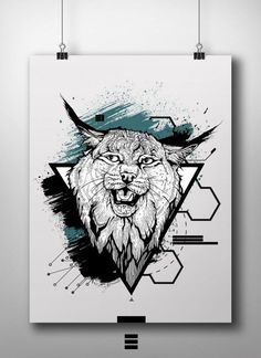 Lynx on Inspirationde Cool Sketches, Tattoo Sketches, Animal Sketches, Animal Drawings, Abstract Drawings, Art Drawings, Brown Tattoo Ink, Cartoon Character Pictures, Fantasy Wolf