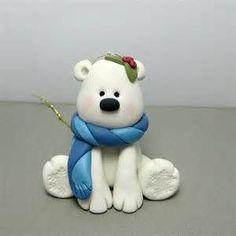 Winter Polar Bear polymer clay Ornament by clayinaround on Etsy