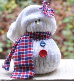 Vyrobte snehuliaka z ponožiek