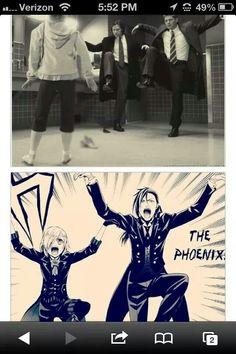 Sam and Dean (Supernatural) doing the Phoenix like Ciel and Sebastian (Black Butler)