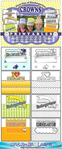 LOVE THESE! Print, color and wear - how fun to send kids home the first day of school!