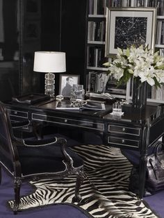 A sharp home office from Ralph Lauren Home, a collection of masculine desk accessories arranged on our Brook Street Desk.