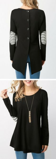 Elbow Patch Button Back Long Sleeve T Shirt