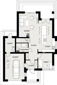 Projekt domu Karat 157,99 m² - koszt budowy - EXTRADOM Small House Design, Modern House Design, Dream House Plans, House Floor Plans, Modern Family House, Villa Plan, Outdoor Spa, Mediterranean Style Homes, Architect House