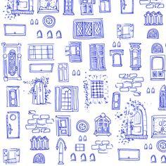 Windows and Doors Doodle fabric by jadegordon on Spoonflower - custom fabric