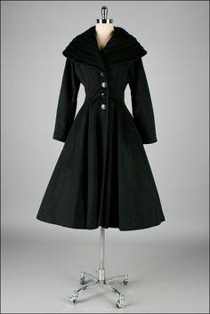 Vintage 1950s Coat . Black Wool . Pockets . Lilli Ann . M L . 2770. $525.00, via Etsy. $525