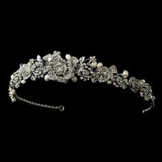 Antique Silver Clear Rhinestone & Freshwater Pearl Rose Tiara Headpiece 869 (NEW) Bridal Tiara, Wedding Jewelry, Wedding Tiaras, Wedding Crowns, Wedding Bride, Pearl Headpiece, Vintage Pearls, Silver Roses, Bridal Accessories