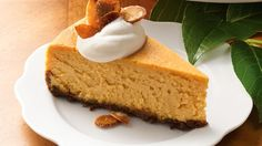 Pumpkin...gingersnaps...caramel. Fabulous flavors of fall are featured in an irresistible cheesecake.