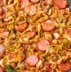 Southern Fried Cabbage With Sausage Recipe . This is a family favorite cabbage recipe. The cabbage is cooked down with tomatoes, seasonings and smoked sausage Cajun Recipes, Irish Recipes, Southern Recipes, Cooking Recipes, Southern Dishes, Pork Recipes, Irish Meals, Yummy Recipes, Keto Recipes