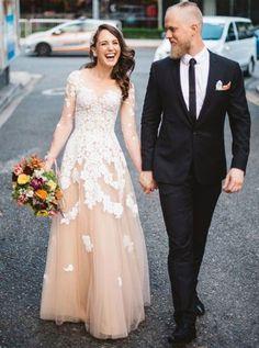 A-line Prom Dress Scoop Long Sleeve Prom Dresses/Evening Dress SKY138