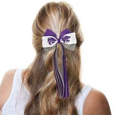 Kansas State Wildcats Ladies Streamer Bow - Purple/White/Gray
