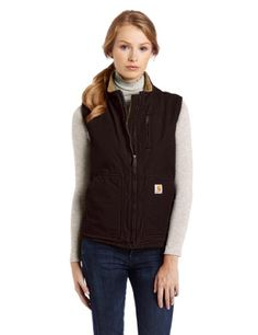 Carhartt Womens Sherpa Lined Sandstone Mock Neck Vest Zip Front WV001Dark BrownXLarge >>> Want additional info? Click on the image.