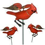 Cardinal Garden Stakes (Set of 6) by Garden Fun. $19.99. Back in Stock! Prepare to bring nature back into your life and enhance your flower garden with our highly requested Cardinal Garden Stakes! These delightful cardinal bird stakes by Land & Sea will place a smile on your face each time you see them in your favorite flower pot plant or flower bed. A unique flexible metal wings design and a springed head on these red cardinal birds allow these birds to flap an...