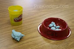 """Pre-K Pets  Theme, have kids make pet food out of Play-Dough, great for fine motor skills, or a dog house in small groups out of cardboard boxes. They can act out animal movements or pretend to be a dog, and then follow a command you'd give. You can set up a """"pet shop"""" or """"vet's office"""" in your room for the kids to practice pet care. Could have a pet care prop box in the dramatic play area w/ stuffed toy pets and accessories for them."""