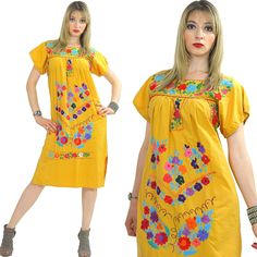 Vintage 70s mustard oaxacan dress Mexican Mexico floral embroidered Trapeze tent dress Festival Boho Hippie shift M Medium by SHABBYBABEVINTAGE on Etsy