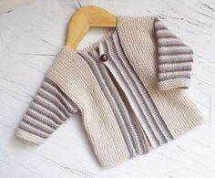 Baby Sideways Knit Cardigan with Stripe Pattern P066
