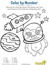Spaceship Color by Number Coloring Page Printable