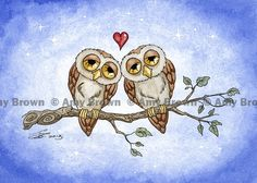 OWL LOVE Limited Edition Print by Amy Brown by AmyBrownArt on Etsy