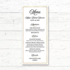 Simple Elegant Gold Printable Menu Card Wedding Bridal and Baby Shower Menu by CrissyDesignCo Bridal Bingo, Bridal Shower Games, Bridal Shower Invitations, Wedding Bouquets, Wedding Favors, Baby Shower Menu, Simple Bridal Shower, Printable Menu, Wedding Menu Cards