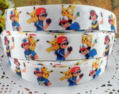 "Pokemon and Trainer 7/8"" printed grosgrain ribbon for Hairbow"