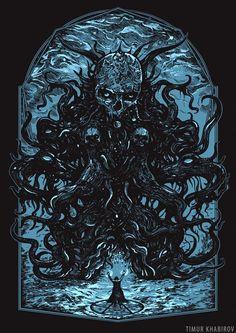 by Timur Khabirov New Fantasy, Fantasy World, Skull Illustration, Skull Design, Dark Souls, Cthulhu, Skull Art, Coups, Macabre