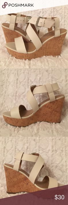 Franco Sarto wedges white leather cork Found a second pair that I wore once or twice. Tiny wear on the bottoms of shoes from wearing outside a couple of times. Basically brand new Franco Sarto Shoes Wedges
