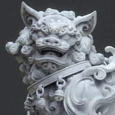 Chinese lion statue (marble version and W.P), Zhelong Xu Chinese Lion Statue, Sculpture Art, Sculptures, Foo Dog Tattoo, Style Chinois, Chinese Dog, Statue Tattoo, Fu Dog, Chinese Architecture