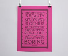 Imperfection is Beauty - Marilyn Monroe quote poster. £10.00, via Etsy.
